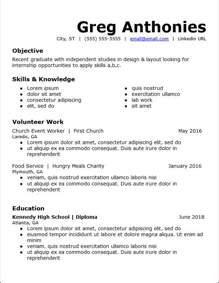 Experience Resume Templates by No Work Experience Resume Templates Free To