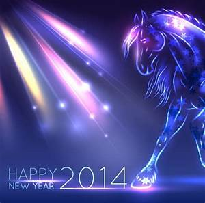 Neon Horse New Year design vector background 03 free