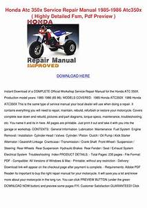 Honda Atc 350x Service Repair Manual 1985 198 By