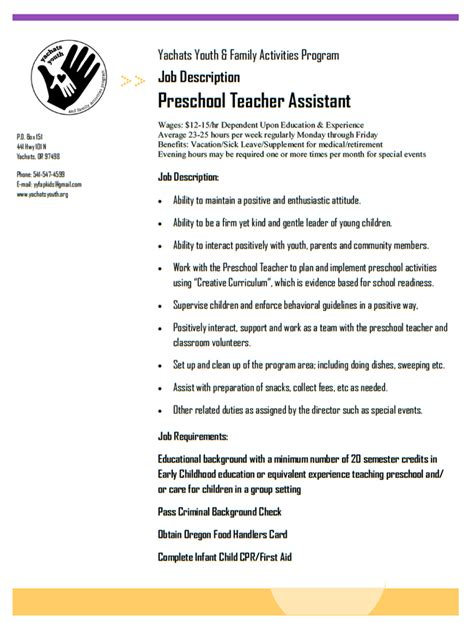yachats youth and family activities program 112 | 2018 Preschool Teacher Assistant Job Description 1