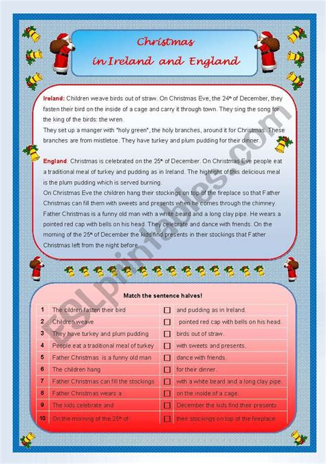 christmas in ireland and england esl worksheet by ze