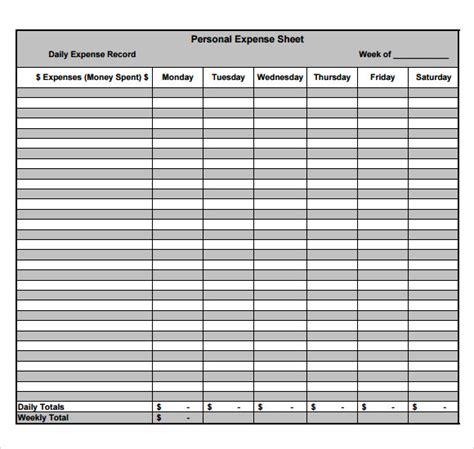 sample expense sheets   word