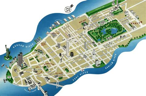 detailed tourist map  manhattan manhattan detailed