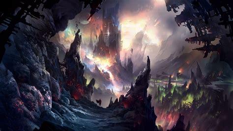Wallpaper Dark Cave, Landscape, Underworld, Towers ...