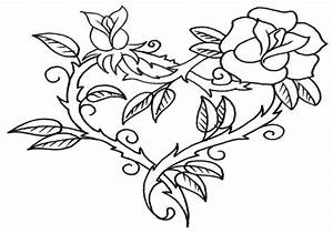 Hearts And Roses Coloring Pages Rose All - grig3.org
