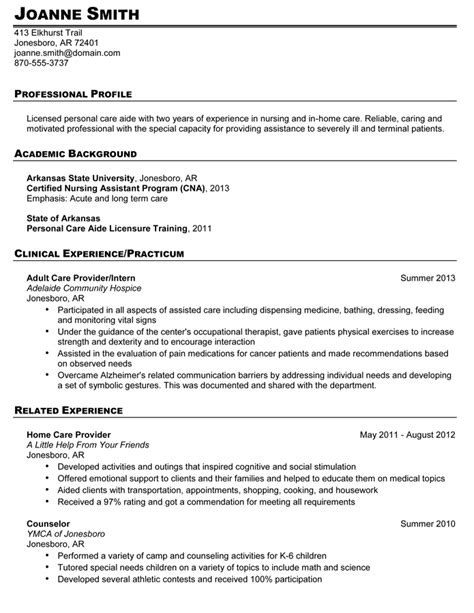 Personal Care Assistant Resume by Work Values 39 9021 00