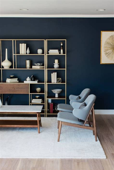 navy  gold interiors  prove   combo