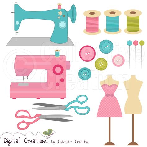 Sewing Clip Sewing Digital Clip Clipart Set Personal And