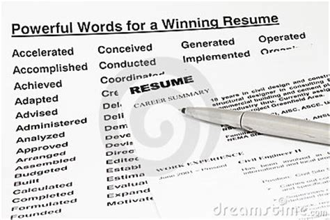 powerful words for winning resume royalty free stock