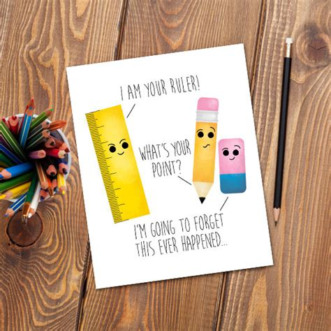 Office Supplies Puns by I Am Your Ruler Digital 8x10 Printable Poster Pencil