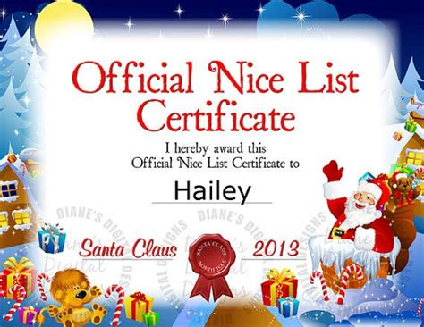 santa nice list certificate santas nice list santa