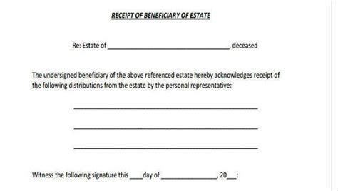 receipt and release form template sle beneficiary release forms 7 free documents in