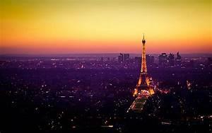 eiffel tower paris sunset horizon cityscapes night lights ...