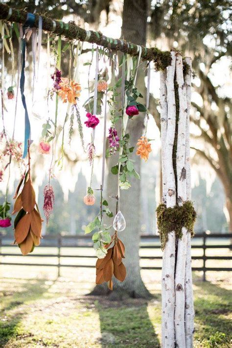 boho wedding ceremony decor branch arch  hanging