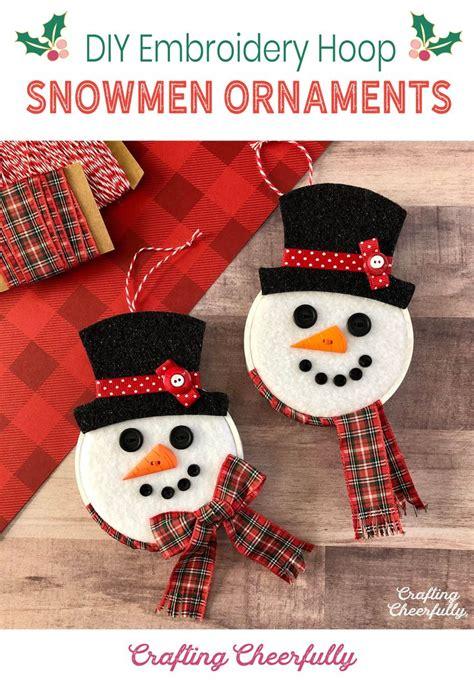 diy snowman hoop ornaments  images fun holiday