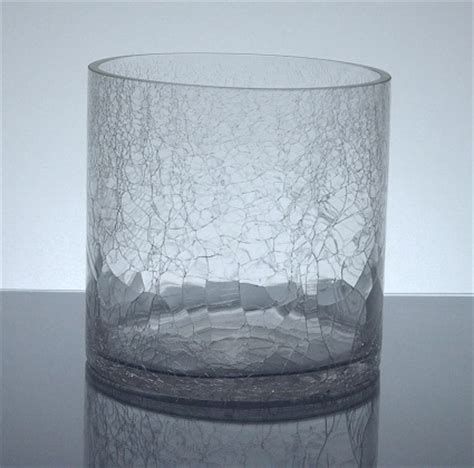 Crackle Vases Glass by Pcc 606 Crackle Cylinder Glass Vase 6 Quot X 6 Quot 12 P C