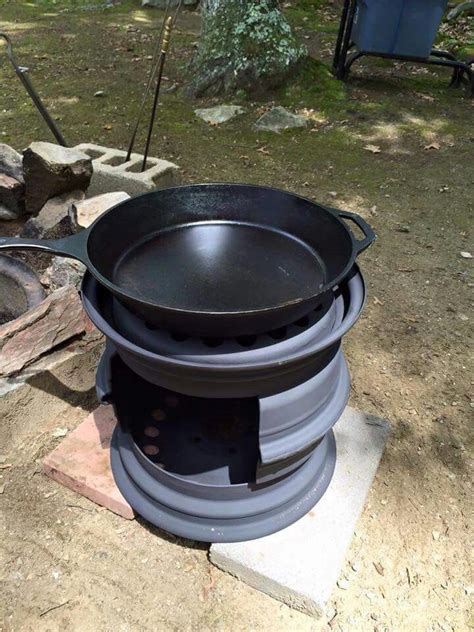 finish  tire rim cooker   outdoor stove diy
