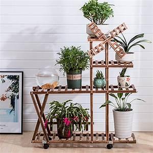 4, Tier, Wooden, Flower, Stand, Garden, Planter, Plant, Pots, Stand, Shelf, Rolling, Indoor, Outdoor, For, Home