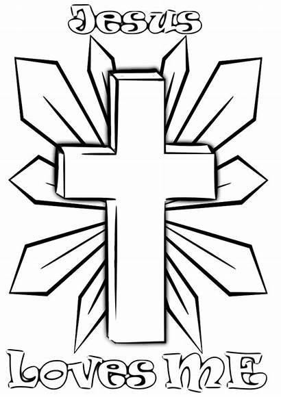 Christian Coloring Pages Cross Religion Holy Printables