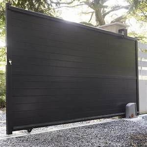 Portail coulissant en aluminium jena l350 x h170 cm for Beautiful leroy merlin terrasse et jardin 3 portail coulissant en aluminium jena l 350 x h 170 cm