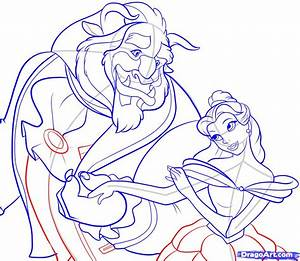 How To Draw Beauty And The Beast Step By Step Disney