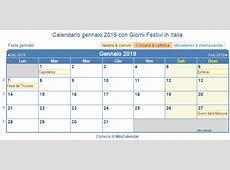 Calendario da stampare gennaio 2019