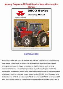 Massey Ferguson Mf 3600 Service Manual Instru By