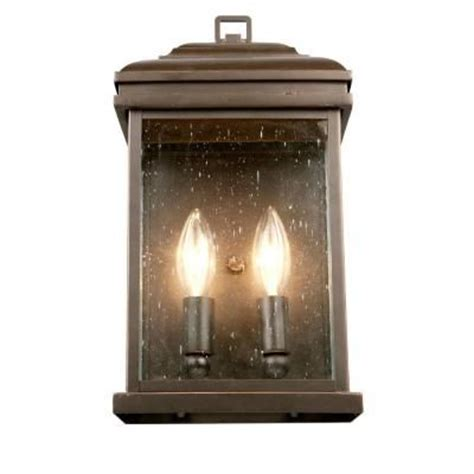 hton bay 2 light outdoor oil rubbed bronze wall lantern