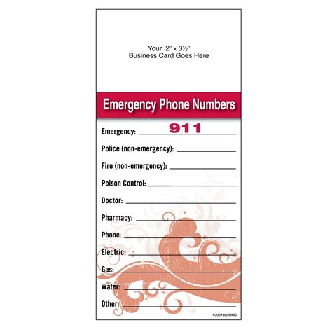 adhesive add  magnet info card emergency phone