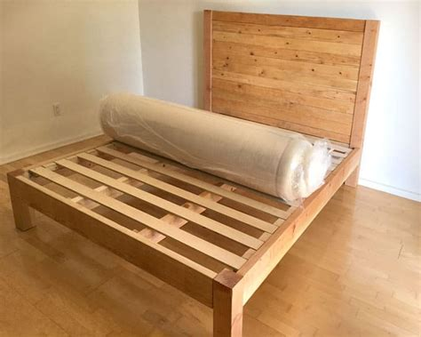 diy bed frame and wood headboard a of rainbow - Diy Bed Frame