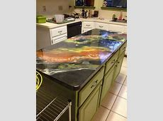 Epoxy Countertops, Plywood Plank Floors and Mosaic