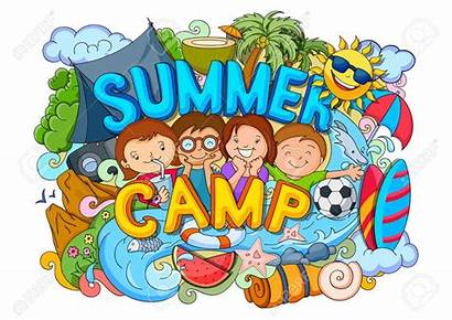 Camp Summer Vector Doodle Illustration Camps Summercamp