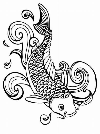Fish Koi Coloring Pages Printable Adult Coy