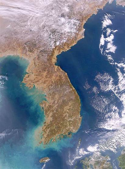 Korea Peninsula Korean Satellite Map South North