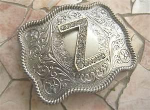 letter z monogram personalized silver belt buckle rhinestone With custom letter belt buckles
