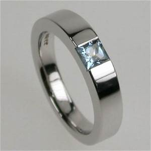 Times square 4 ring in white gold princess cut for Lesbian ring finger wedding rings