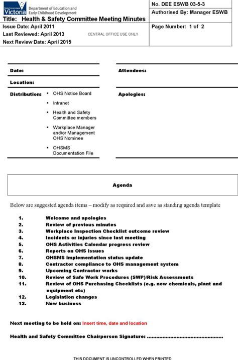 Health And Safety Committee Meeting Agenda Template by 5 Safety Meeting Minutes Templates Free