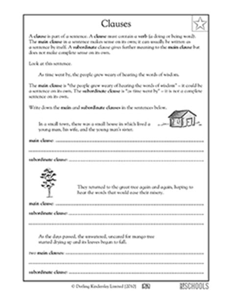 3rd grade, 4th grade Writing Worksheets: Clauses: parts of