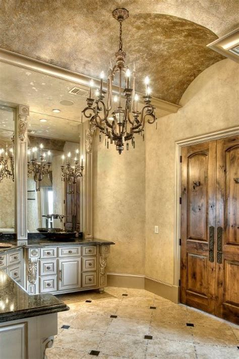 stunning master bathroom with interesting ceiling and
