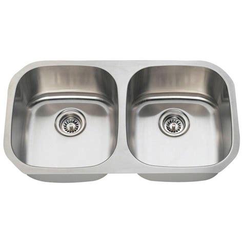 stainless steel undermount kitchen sink double bowl belle foret undermount stainless steel 32 1 4 in 0 hole