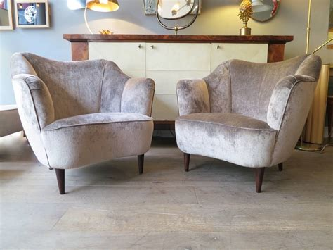 Italian 1950s Salon Suite Curved Sofa And Armchair Set At