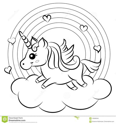 cute cartoon vector unicorn  rainbow coloring page