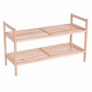 2, Tier, Solid, Wood, Shoe, Rack, Shelf, Storage, Organizer, Wooden, Slats, Entryway