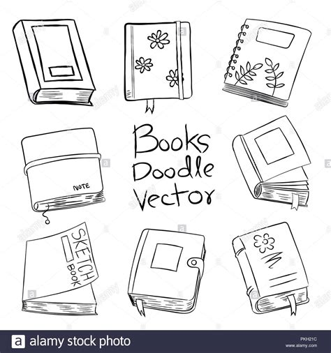 doodle coloring book books doodle vector for coloring book isolated