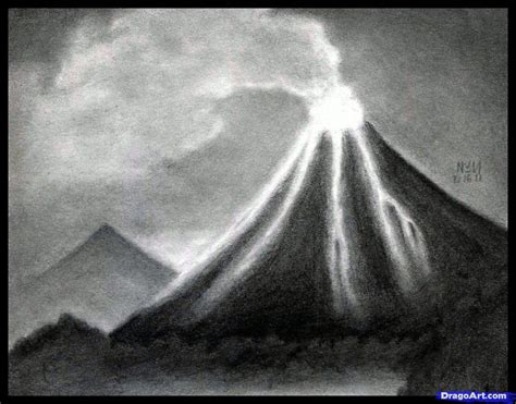 How To Draw Volcanoes Draw A Volcano Step By Step