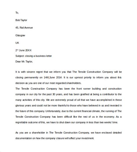 business letter closing 8 sle closing business letters sle templates 33597