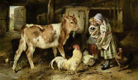 children feed  calf  chickens walter hunt  art