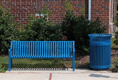 File200307 Blue Bench And Garbage Receptaclejpg