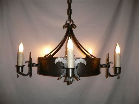 large five light iron antique chandelier with grand