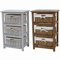 storage with baskets Bentley Home Wooden Storage Cabinets With 3 Wicker Basket